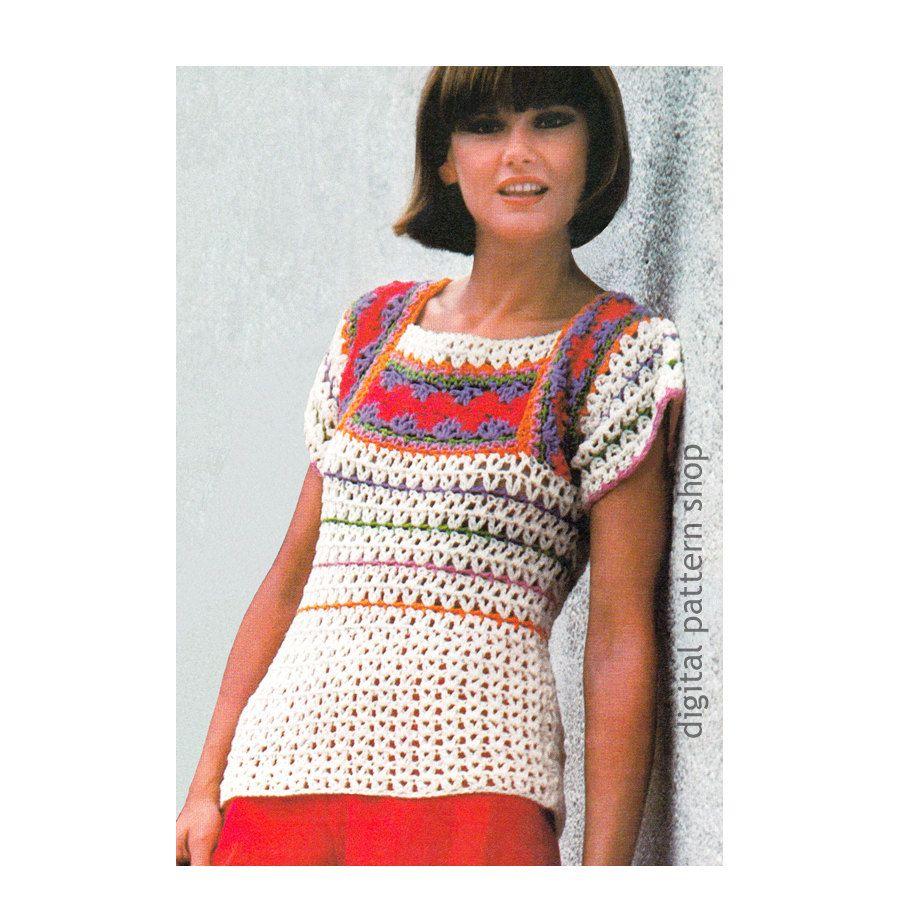 Crochet Top Pattern Striped Sweater Crochet Pattern Square Neck ...