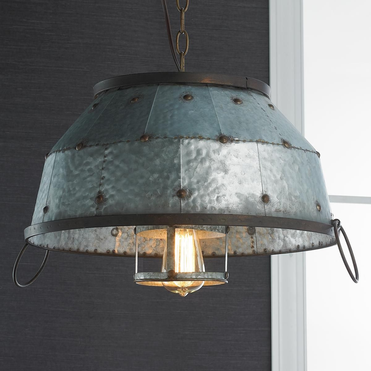 Industrial Riveted Galvanized Dome Pendant