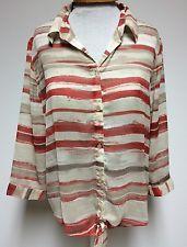 Chico'S Womens Size 1 Sheer Shirt Button Ties RED Brown Cream Horizontal Stripes | eBay