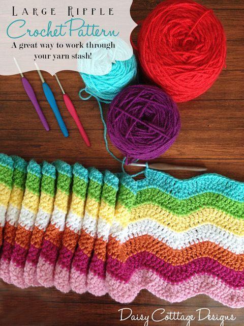 Large Ripple Afghan Crochet Pattern | Schal häkeln, Häkeln und ...