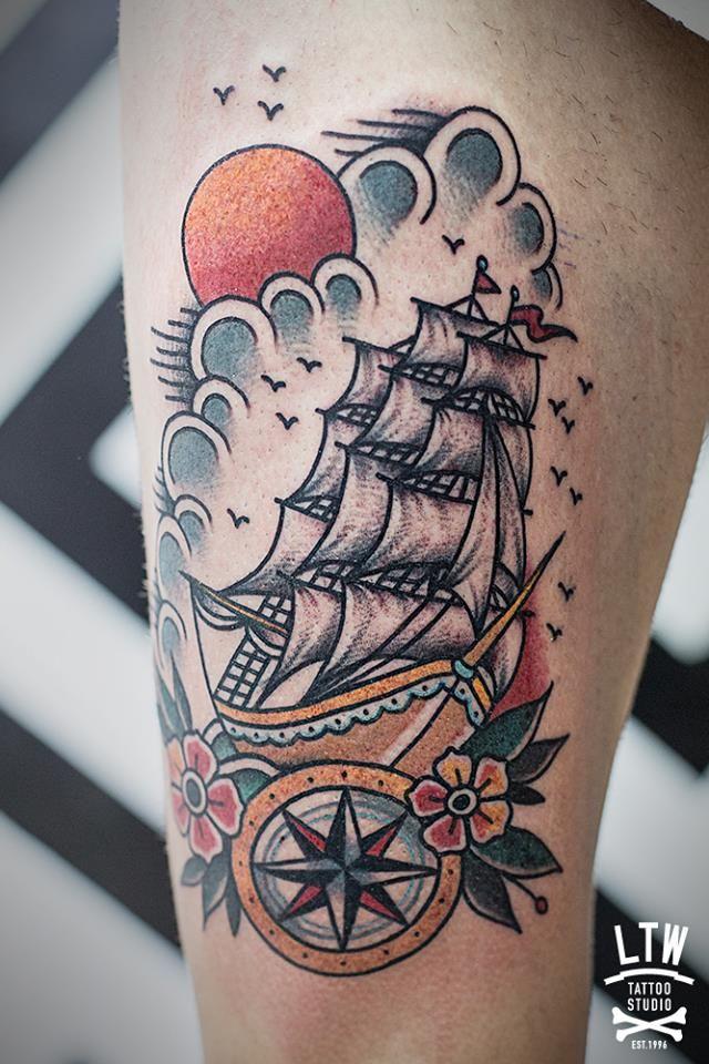 Traditional Ship Tattoos : traditional, tattoos, School, Tattoo, Tattoo,, Tattoos,, Trendy, Tattoos