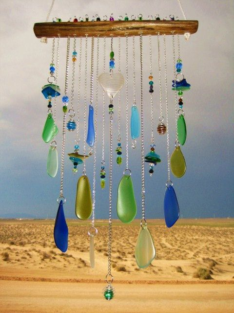 Photo of Beach Glass Chime with White Glass Heart.