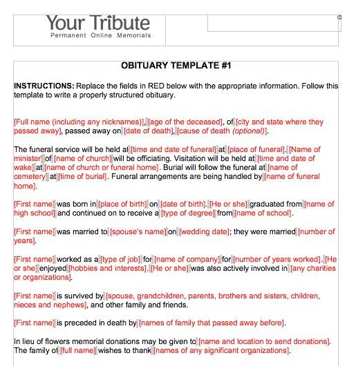 Obituary Template Word 04 Funeral Pinterest Template - funeral checklist template