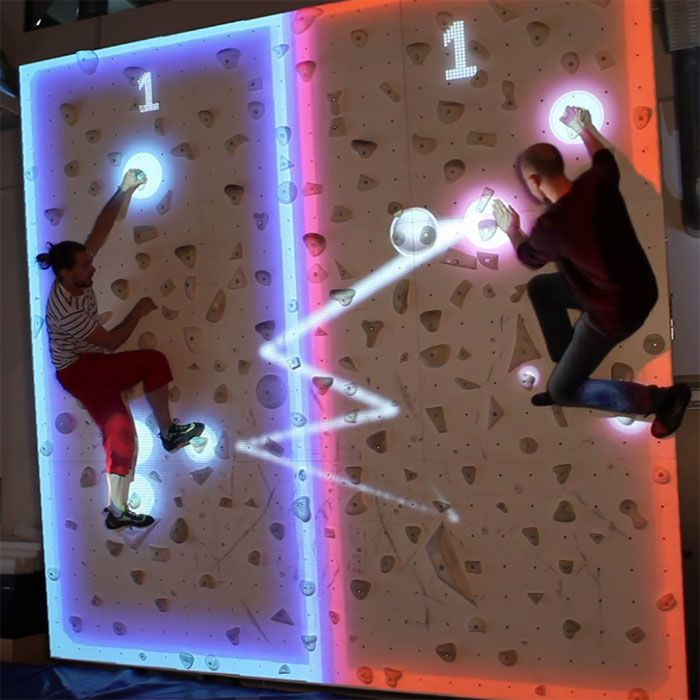 Augmented climbing wall combines projected graphics and body tracking technology to create interactive games