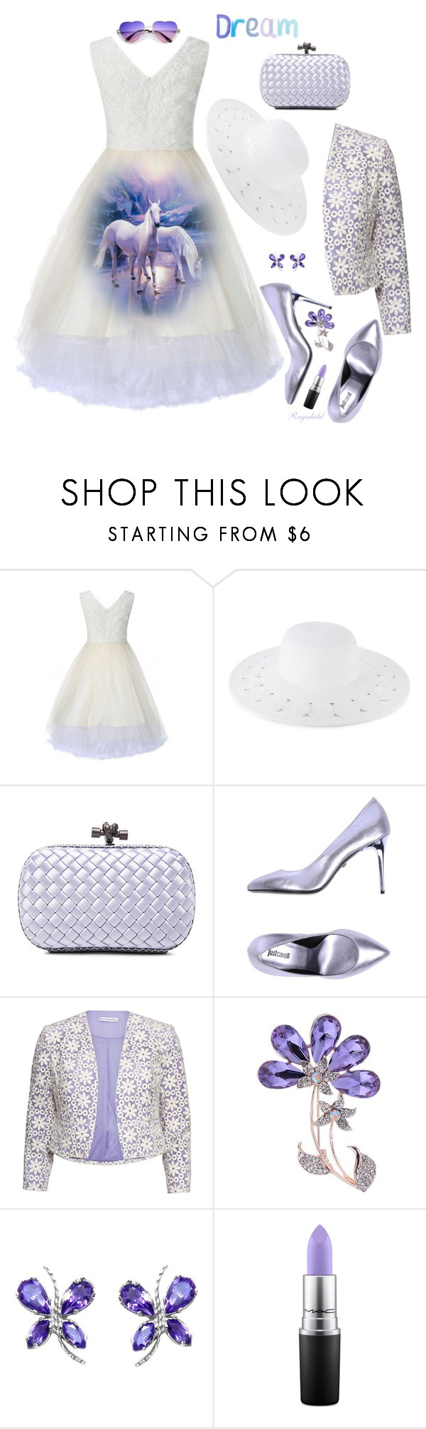 """Dreamy Dress"" by ragnh-mjos ❤ liked on Polyvore featuring San Diego Hat Co., Bottega Veneta, Just Cavalli, Gina Bacconi and MAC Cosmetics"