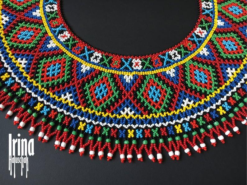 Long white blue necklace Beaded traditional necklace Extravagant necklace Ukrainian multistrand necklace Beaded necklace in ethno style