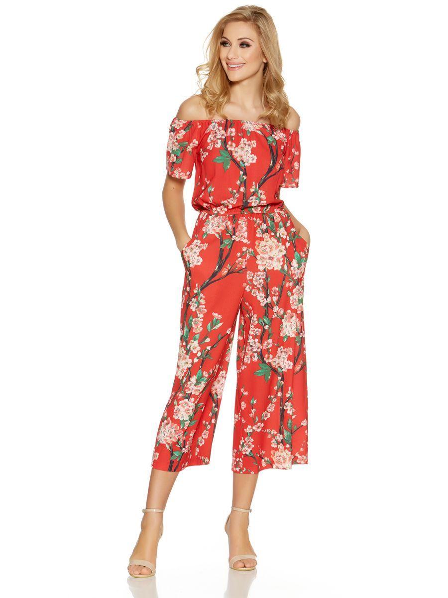 Red bardot floral print culotte jumpsuit more clothes pinterest
