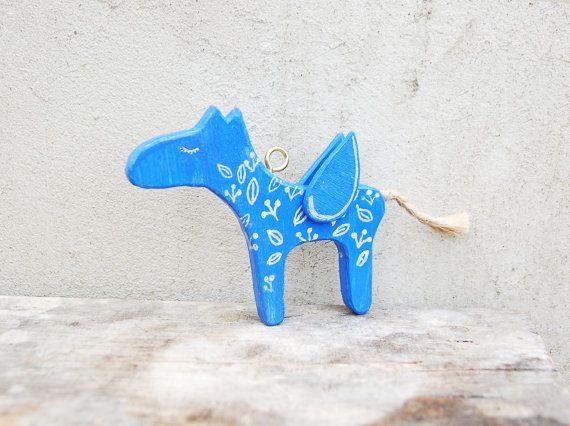 Blue wooden horse Pegasus miniature ornament charm  by PapaAngel