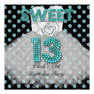 Sweet 13th birthday party girls 13 teen teal blue invitation 13th sweet 13th birthday party girls 13 teen teal blue invitation filmwisefo Gallery