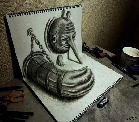 Graffitis a lapiz 3D faciles , Imagui