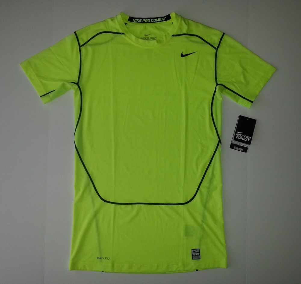 sale retailer f20ca 5858b NIKE PRO COMBAT DRI-FIT COMPRESSION NEON YELLOW SHIRT (XXL) -- NEW  NIKE   ShirtsTops