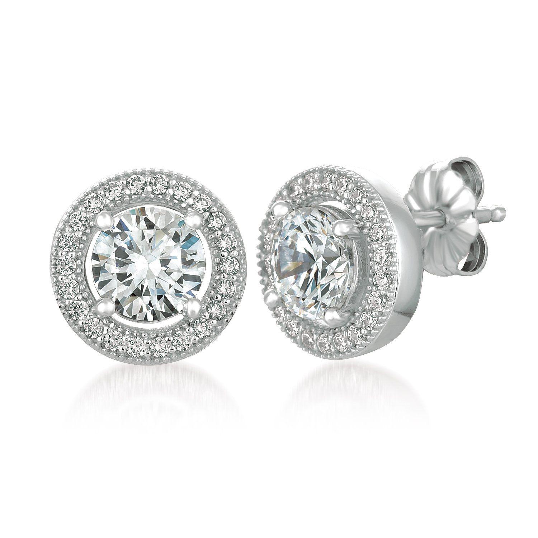 Round Brilliant Cut Bezel Set Cubic Zirconia .925 Sterling Silver Stud Earrings