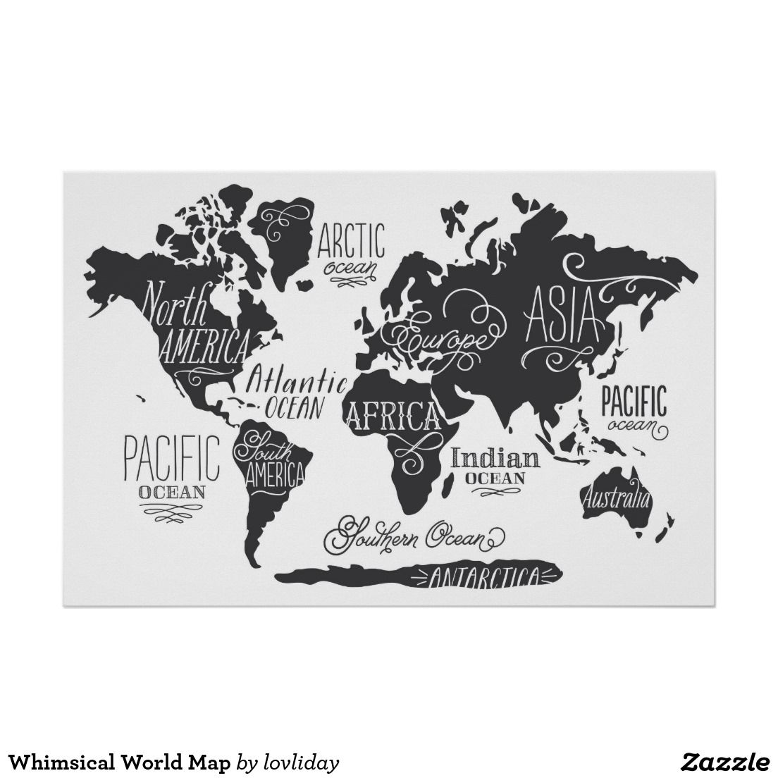 Whimsical world map poster art pinterest explore world map wall art world map poster and more gumiabroncs Image collections