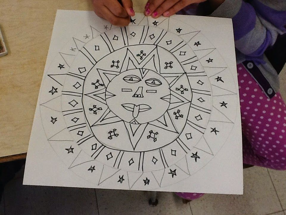Aztec Calendar Art Lesson : Art inklings how to draw aztec sun stones history and