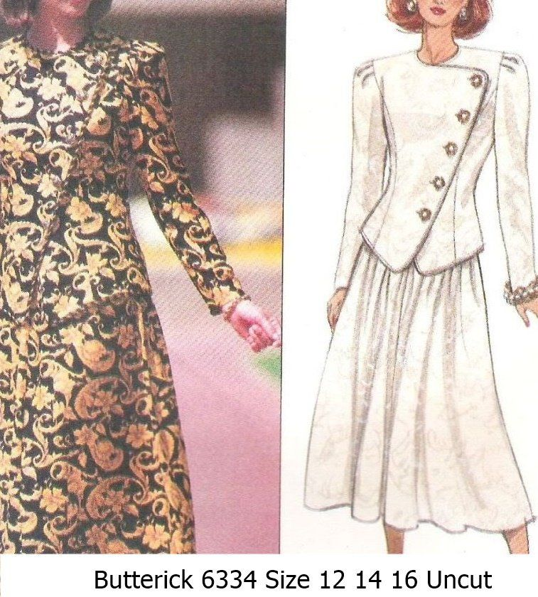 Butterick+6334+Sewing+Pattern+Misses+Jessica+Howard+Top+Skirt+Size+12+14+16+Uncut