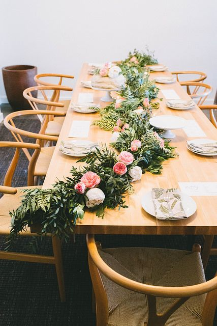 Greenery garland wedding reception table runner