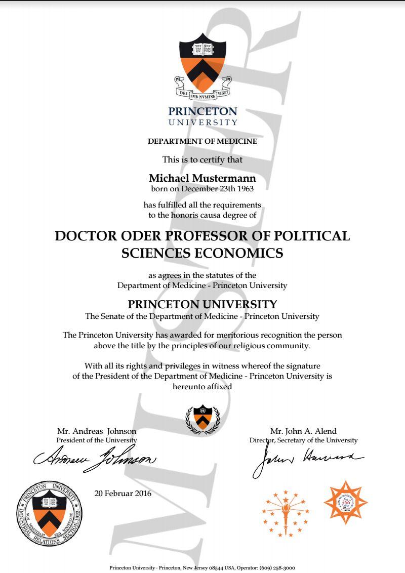 Doktortitel kaufen Princeton University | Berufszertifikate ...