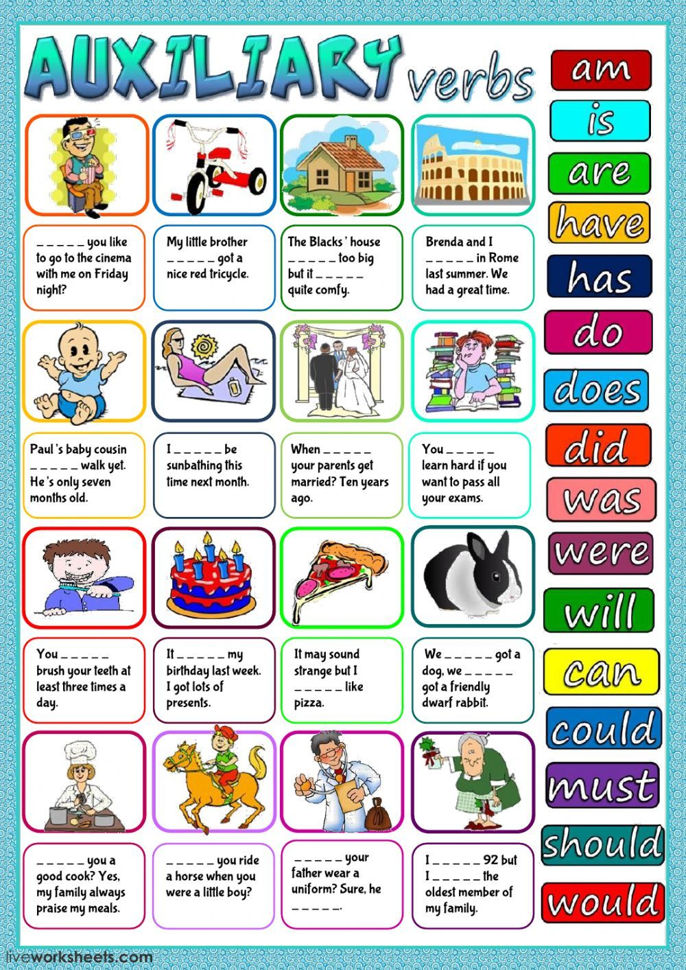 Auxiliary verbs interactive and downloadable worksheet. You ...