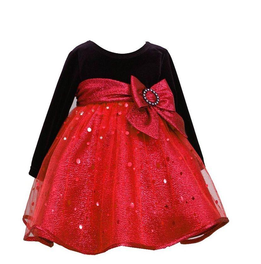 Ella Blu Store - Bonnie Jean Girls Velvet to Spangle Christmas Dress 4-6X, - Bonnie Jean Girls Velvet To Spangle Christmas Dress 4-6X Red Bow