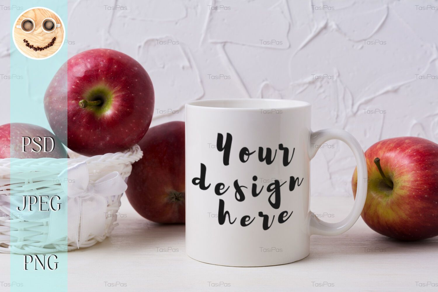 White coffee mug mockup with red apples in wicker basket