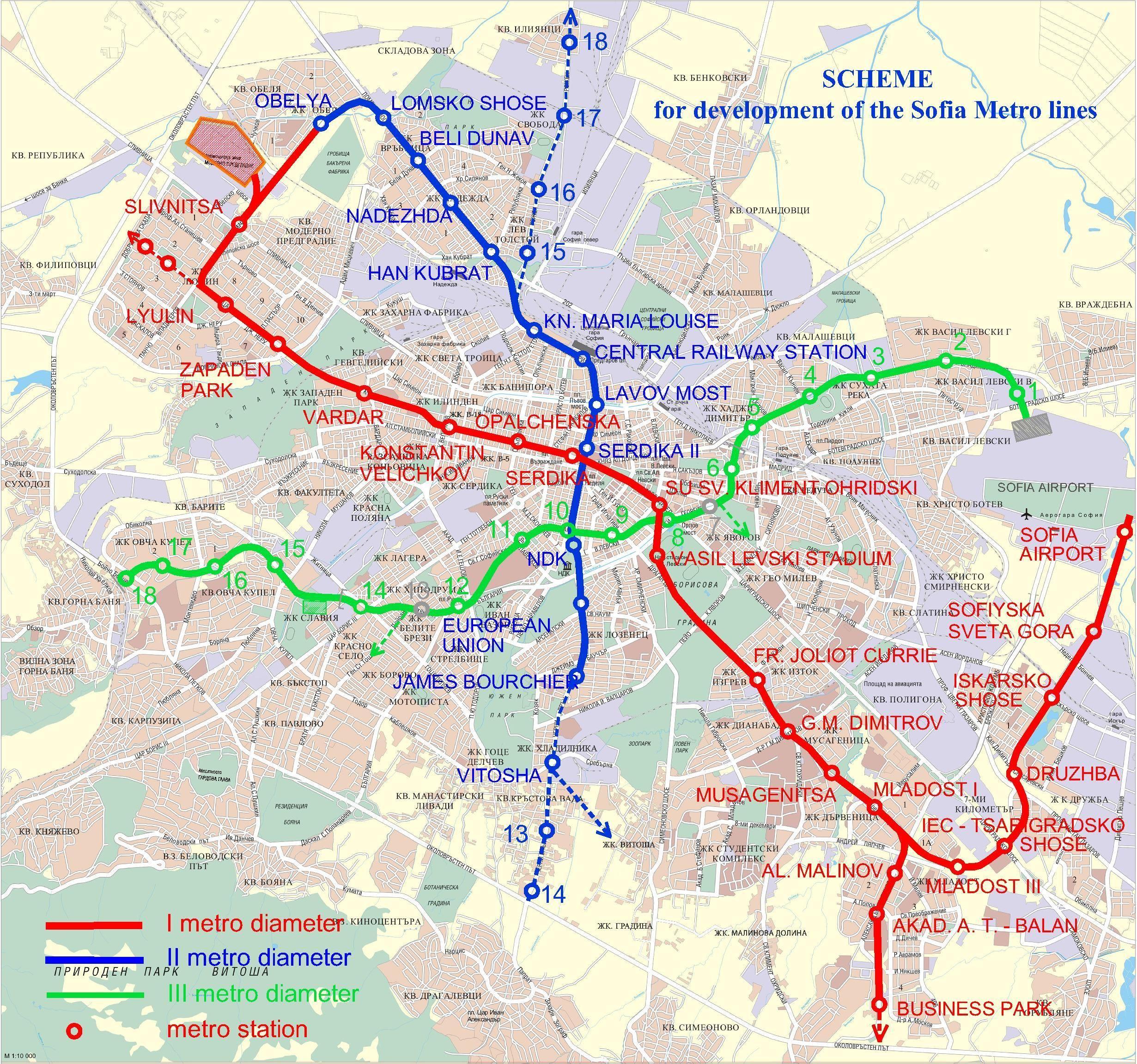 Sofiysko metro Sofia U Bahn Karte Bulgarien