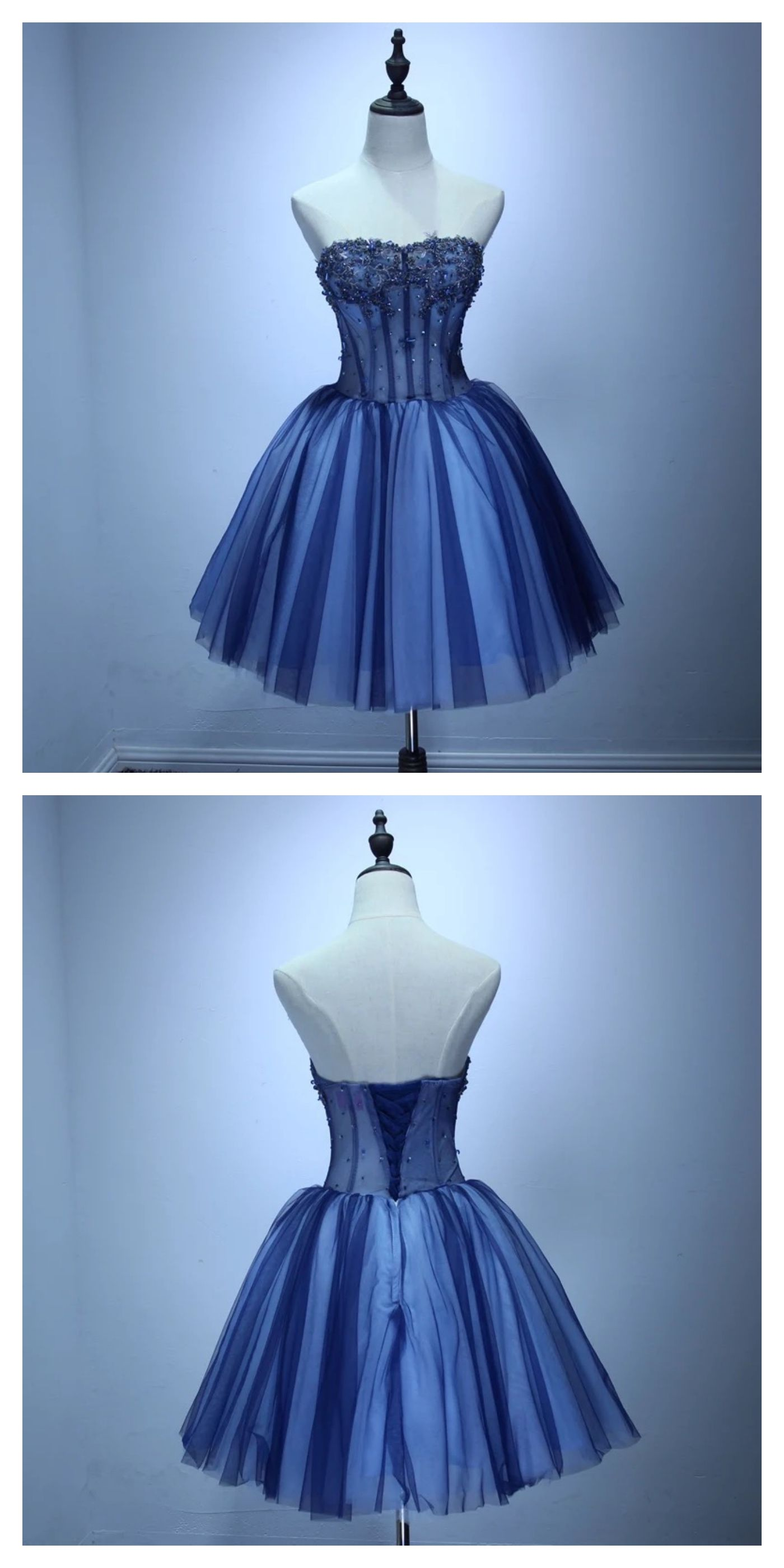 Strapless applique high waist tulle homecoming dresseshs from