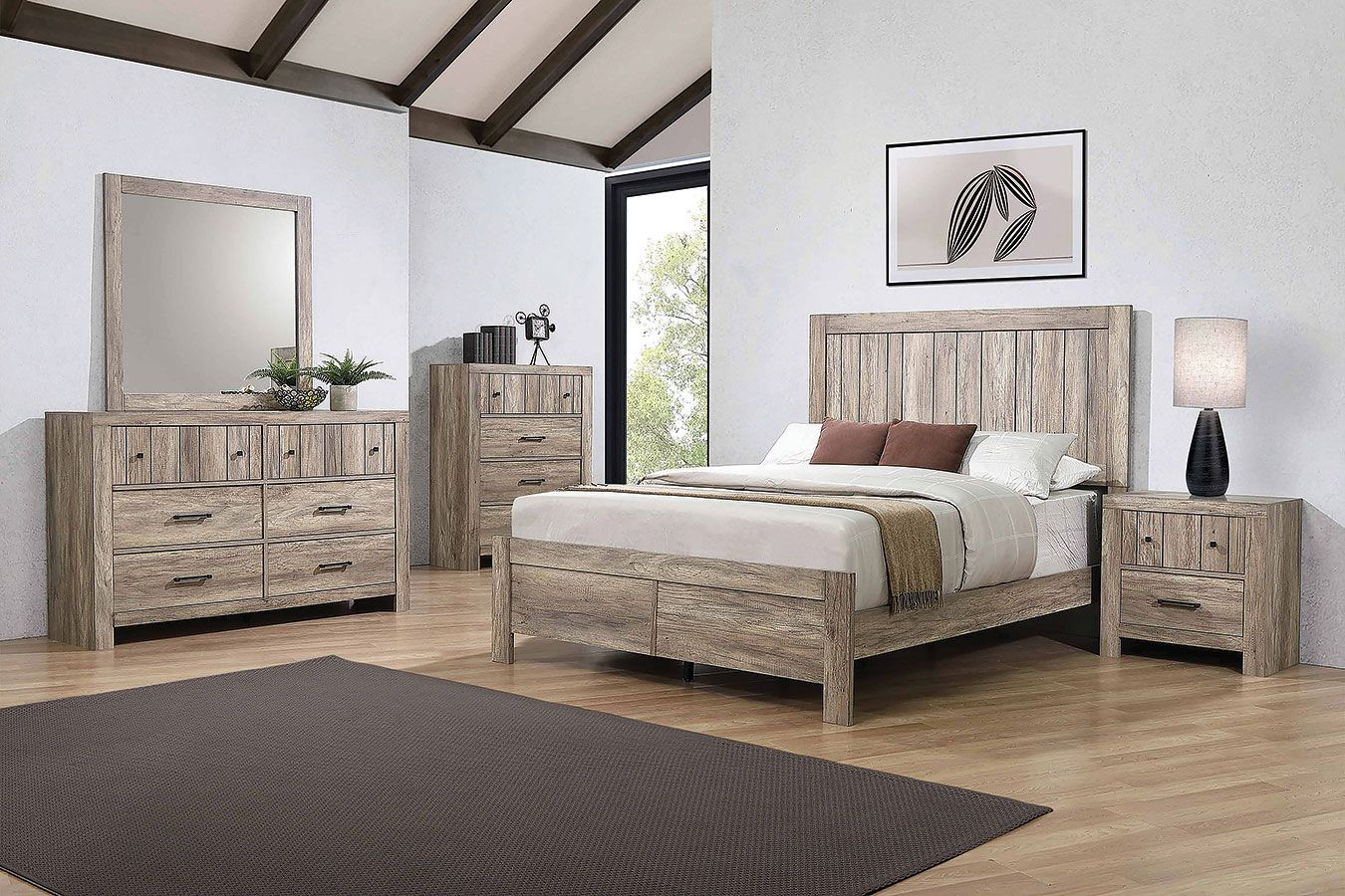 Adelaide Panel Bedroom Set Furniture, Oak bedroom