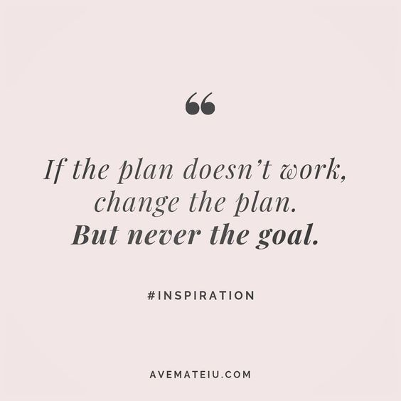 If the plan doesn't work, change the plan. But never the goal. Quote 54 | Ave Mateiu