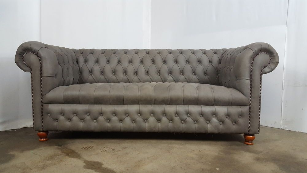 3 Seat Chesterfield Sofa Nubuck Grey Leather Rrp 2995