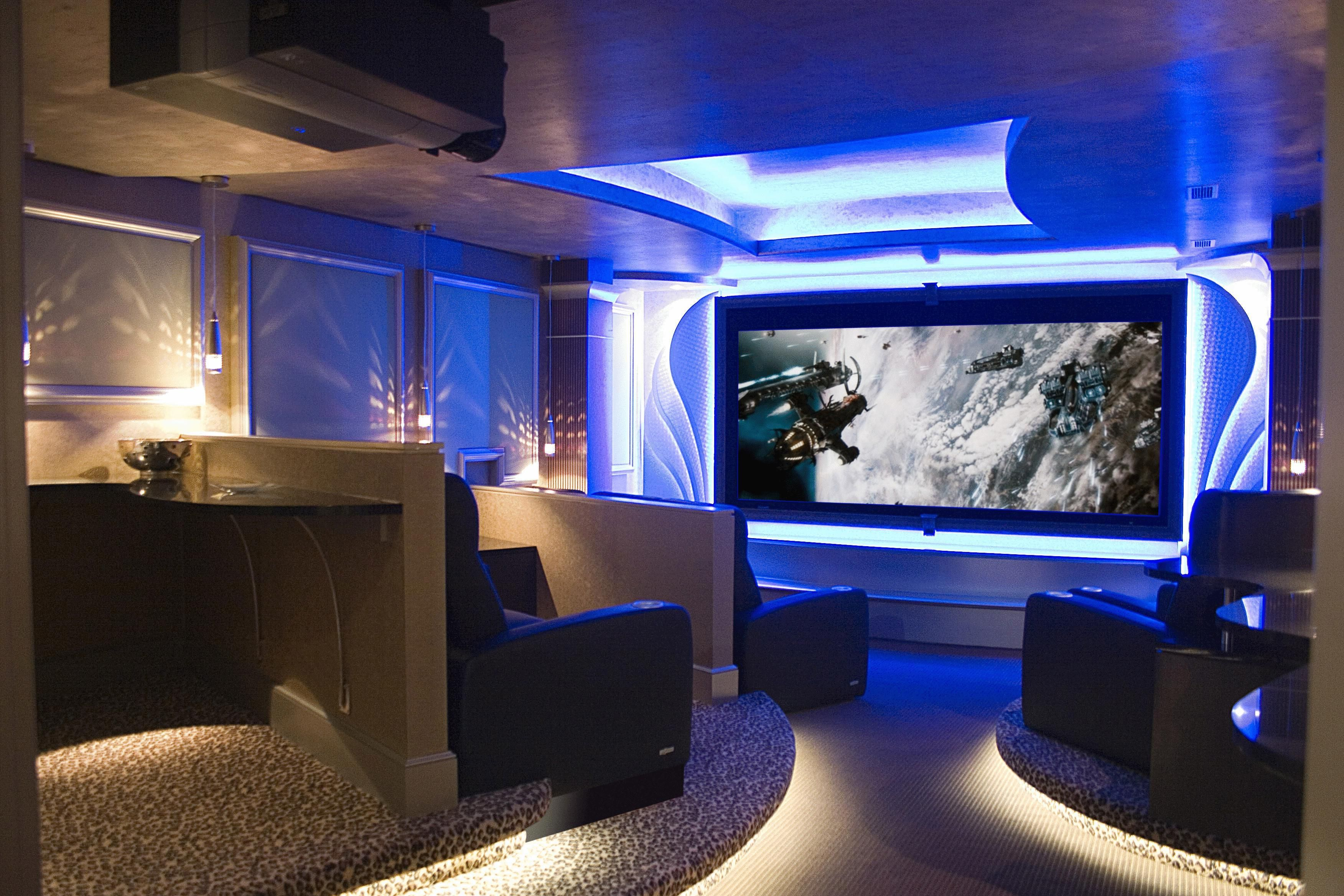 interior exciting basement home theater ideas home entertainment for family at basement with great blue lighting [ 3504 x 2336 Pixel ]