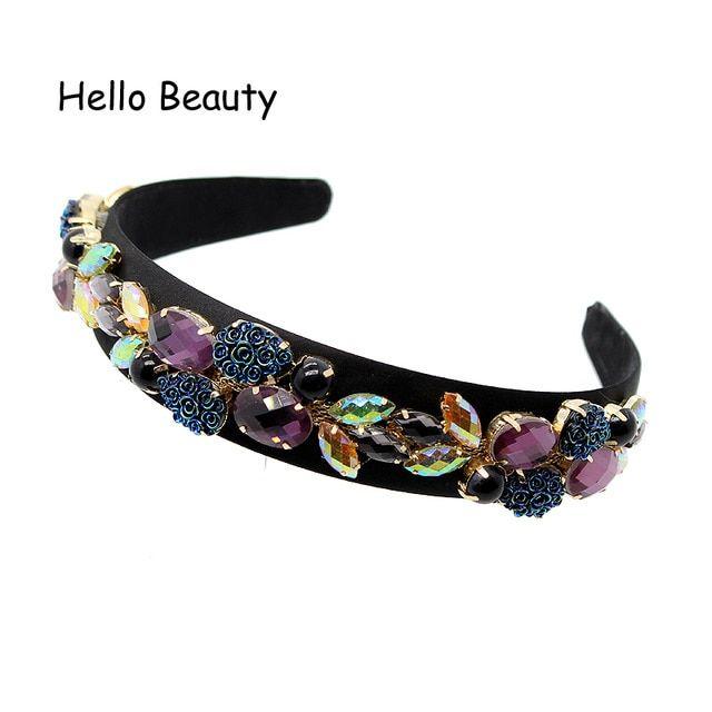 Wide Luxury Vintage Hair Jewelry Purple Crystal Headband Black Beads Hair  Band AB Rhinestone Baroque Hairband 6490517234ad