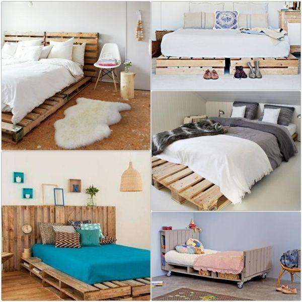 Bett aus Paletten im eigenen Schlafzimmer inspirierende