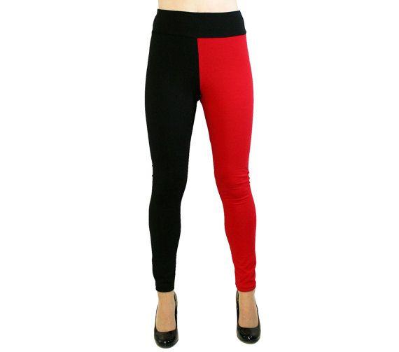 plus size Harley Quinn Diamond Leggings Full Length Red Black cotton regular