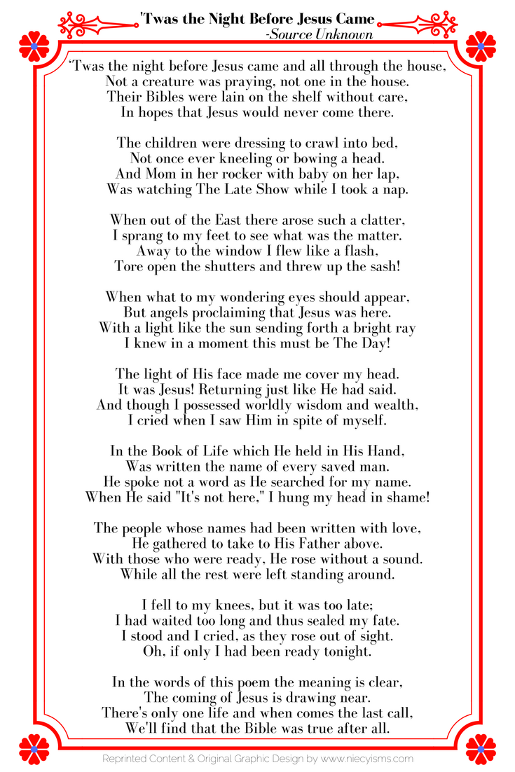 'Twas the Night Before Jesus Came | Free Printable | Christmas poems, Christmas poems christian ...