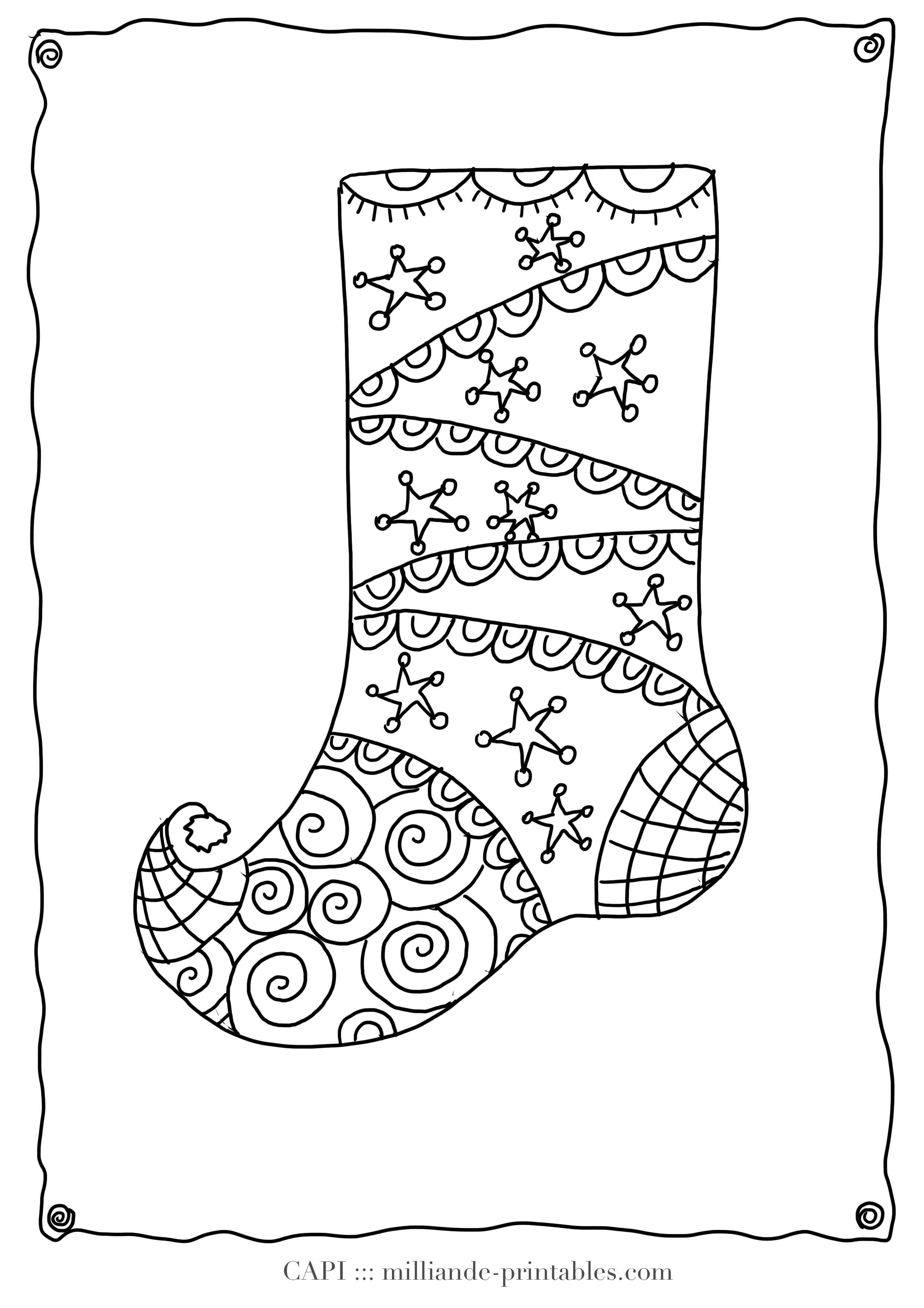 Christmas Coloring Page Stocking, Milliande's Free