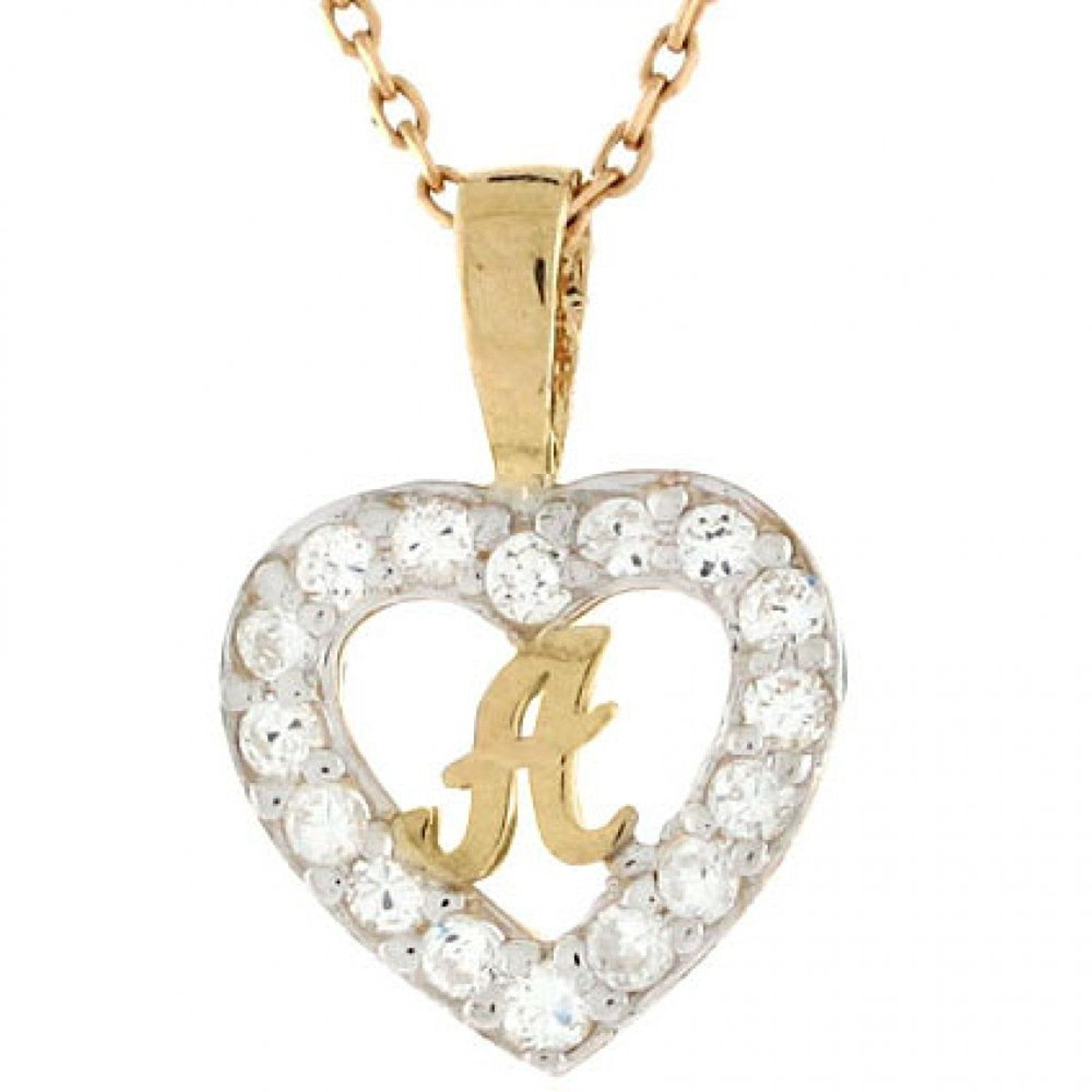 K gold letter uau cz initial heart charm pendant see this great