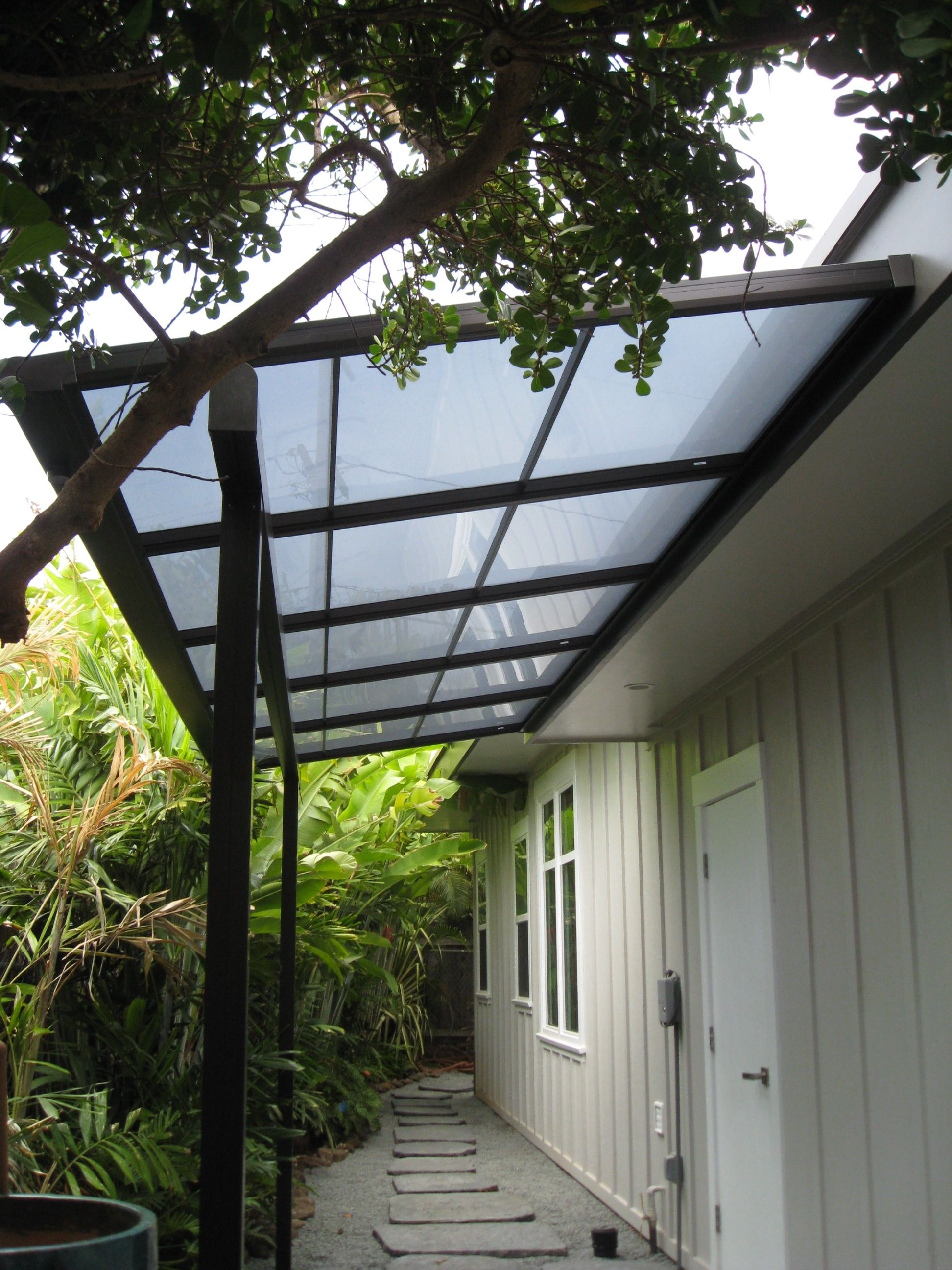 Small Patio Cover With Bearing Beam And Polycarbonate (LEXAN) Roof Panels.  Itu0027s A