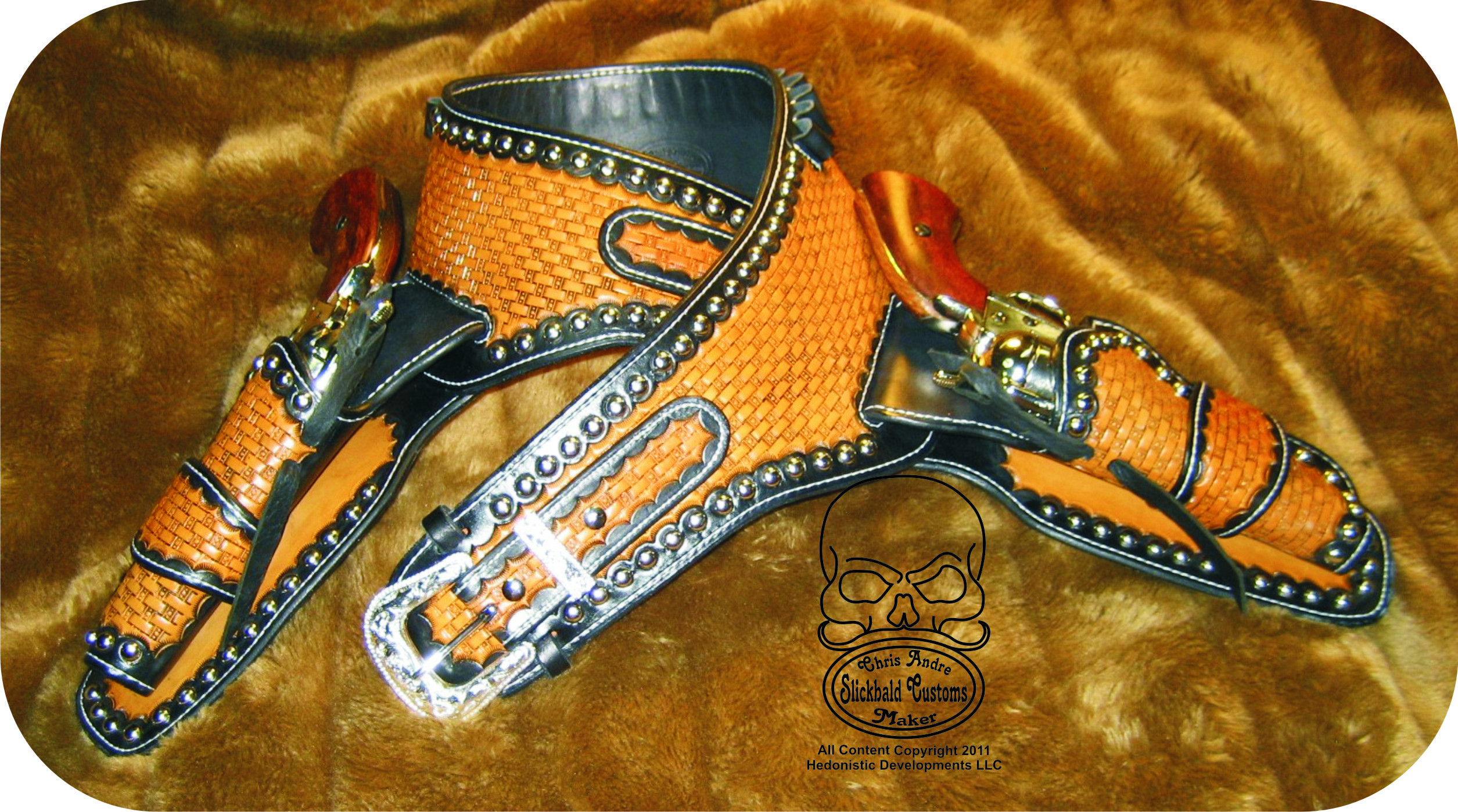 Classic Black & Tan Hollywood Buscadero with nickel spots