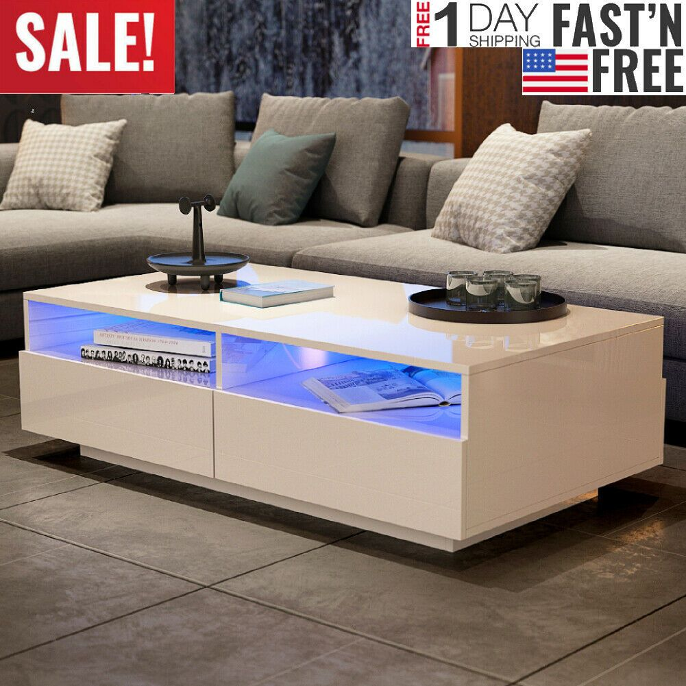 Argos High Gloss Table And Chairs: High Gloss LED Coffee End Table Sofa Side 4 Drawers Living