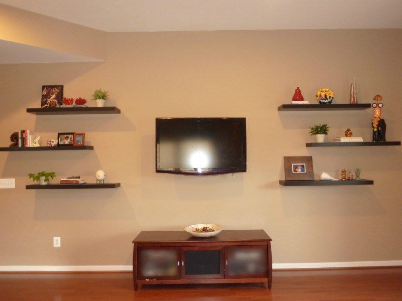 How To Decorate Around A Tv With Floating Shelves Whats Ur Home Story Floating Shelves Floating Shelves Living Room Modern Floating Shelves