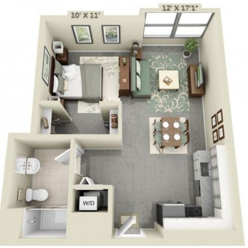brilliant studio apartment blueprint. tiny modern floor plan 300 square feet  Google Search Studio Apartment Planos de apartamentos peque os un dormitorio Square