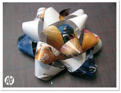 Make your own gift bows from magazines