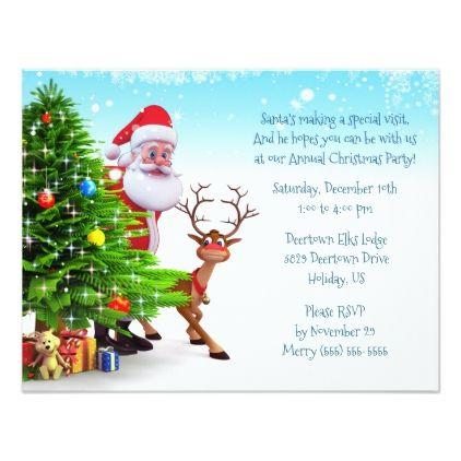 Santa  Rudolph Peek Around Tree Party Invitation - Xmas