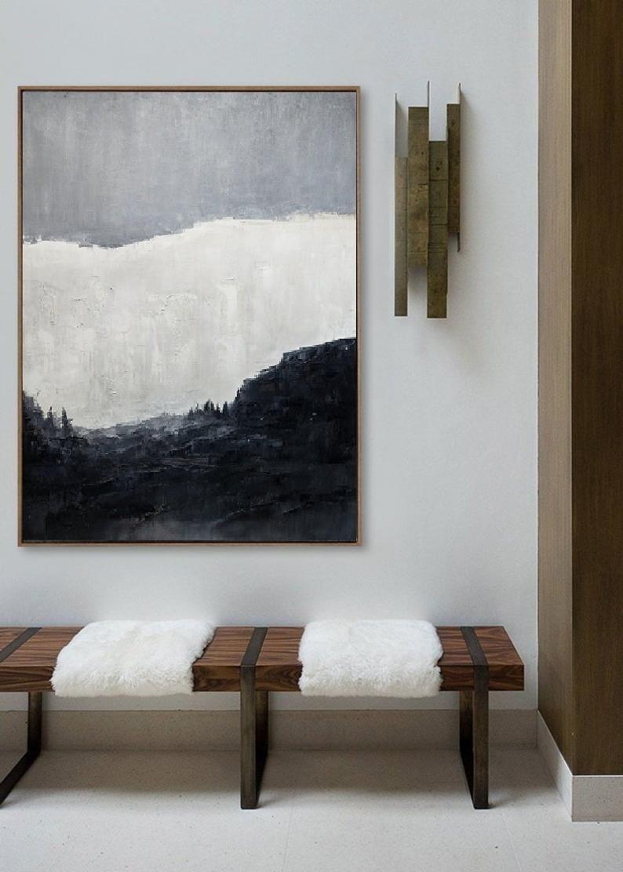 Black And White Minimalist Canvas Artlarge Original Abstract Etsy Minimalist Canvas Art Abstract Canvas Painting Black And White Wall Art