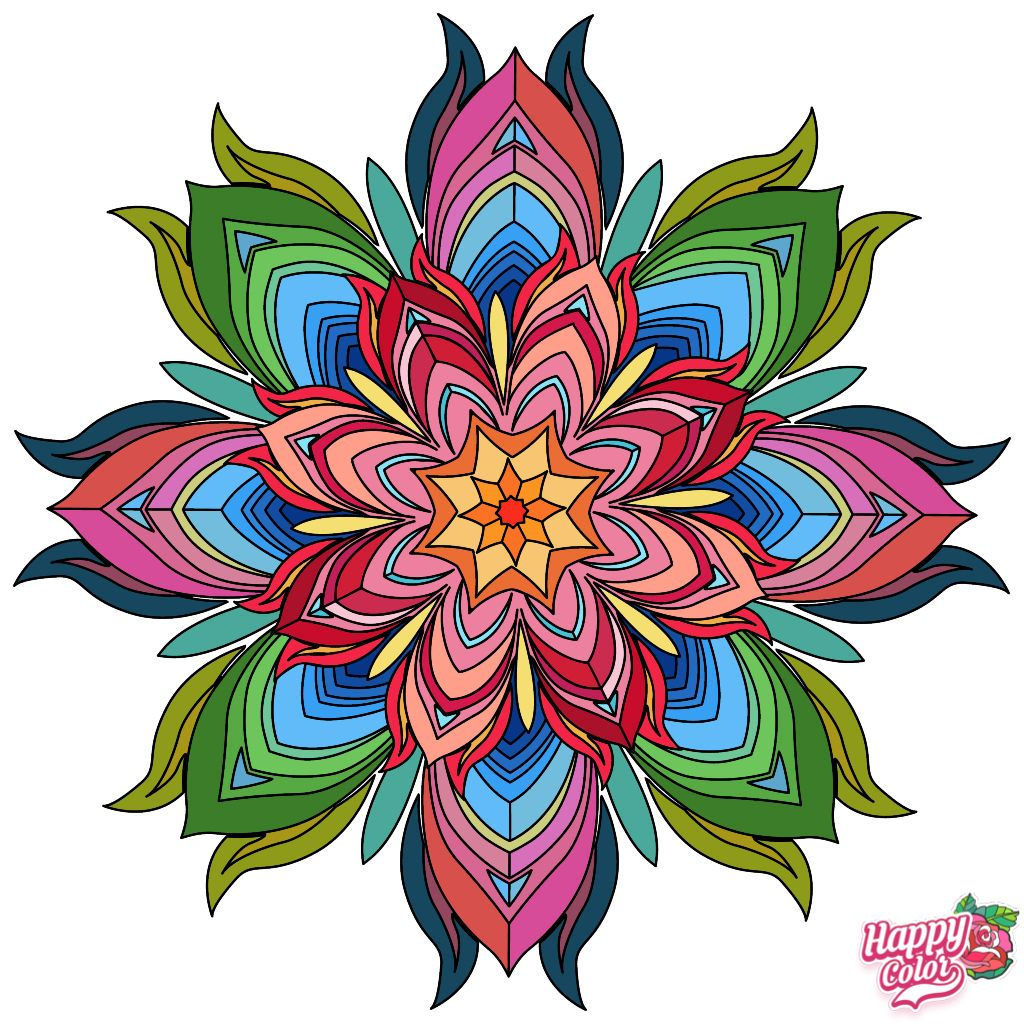 4 12 19 Happy Colors Mandala Colorful Pictures