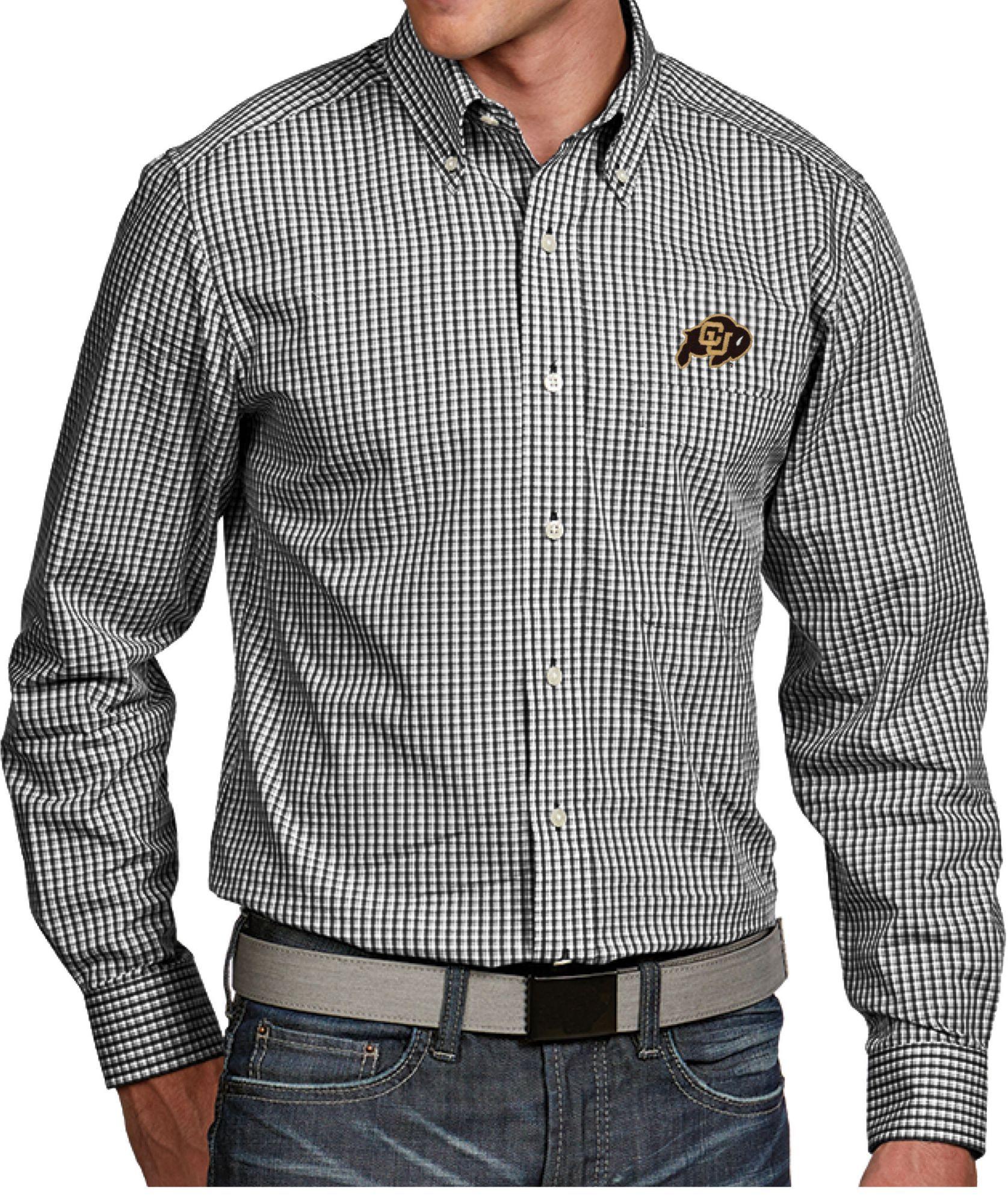 ee00e401 Antigua Men's Colorado Buffaloes Black Associate Button Down Long Sleeve  Shirt, Size: Medium, Multi