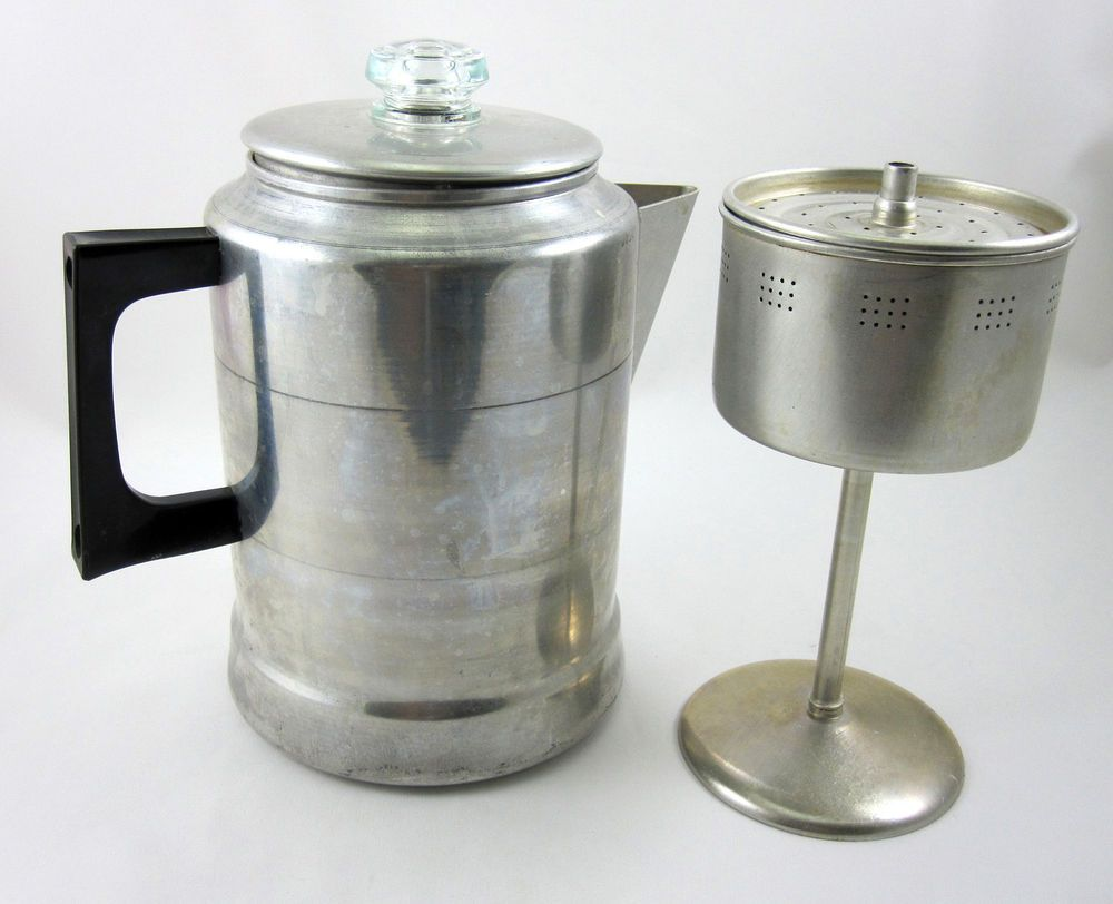 Comet aluminum coffee pot 9 cup vintage stovetop for Best coffee percolator