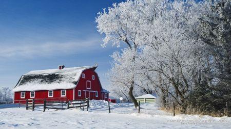 Red Barn In Winter Desktop Nexus Wallpapers Winter Wallpaper Desktop Red Barn Barn