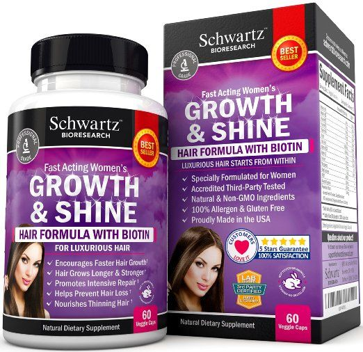 Hair Growth Vitamins With Biotin Exclusive Product For Women Longer Stronger Silky Soft Visible Results In 1 Month Glut