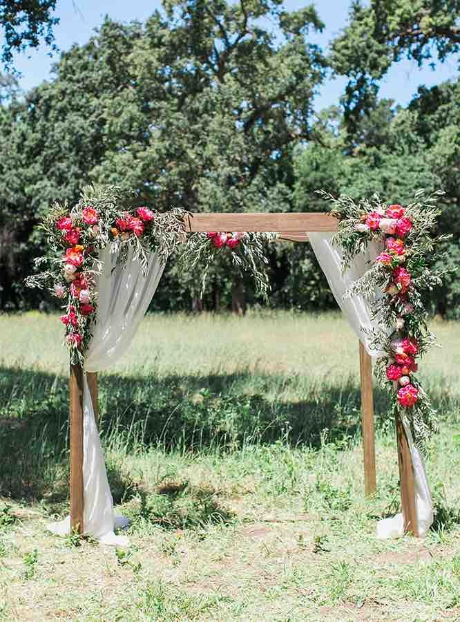 Rustic Wood Wedding Arch With Red Flowers More